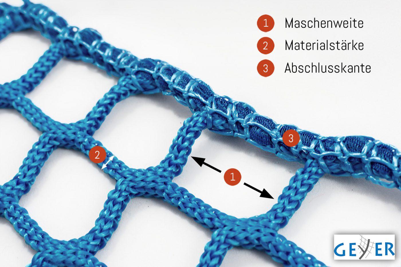 Information über Maschenweite, Materialstärke und Abschlusskante