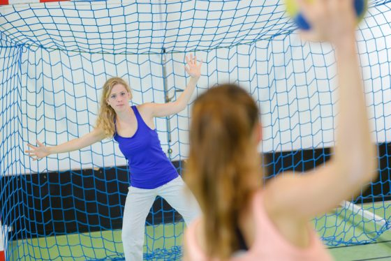 Handballnetz standardmaße blau grün weiß